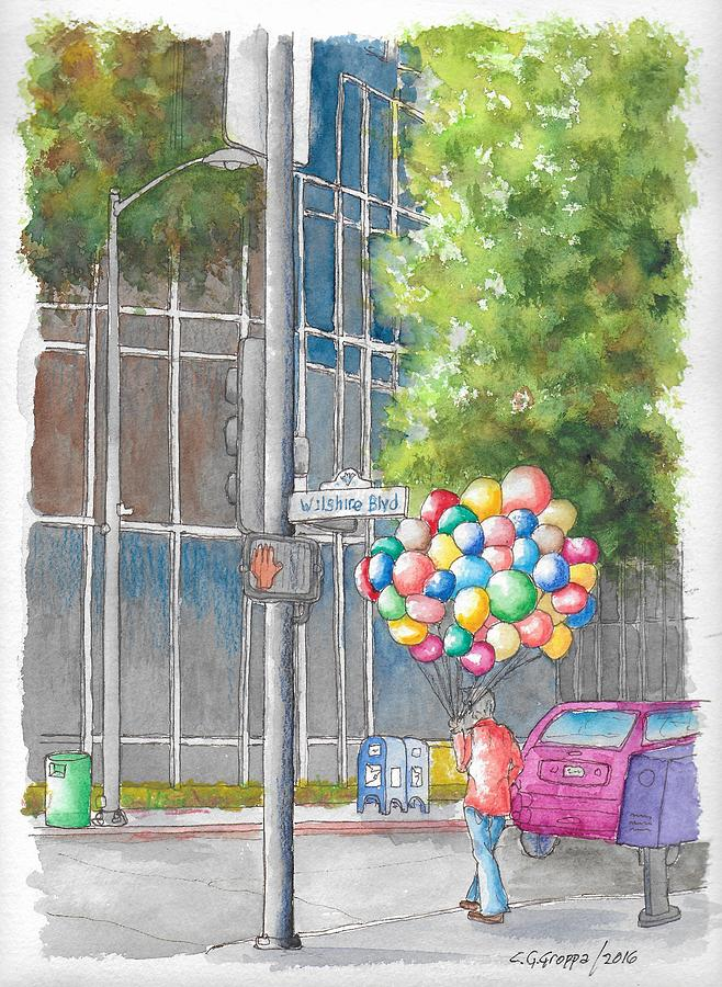 Man with balloons in Wilshire Blvd., Beverly Hills, California by Carlos G Groppa
