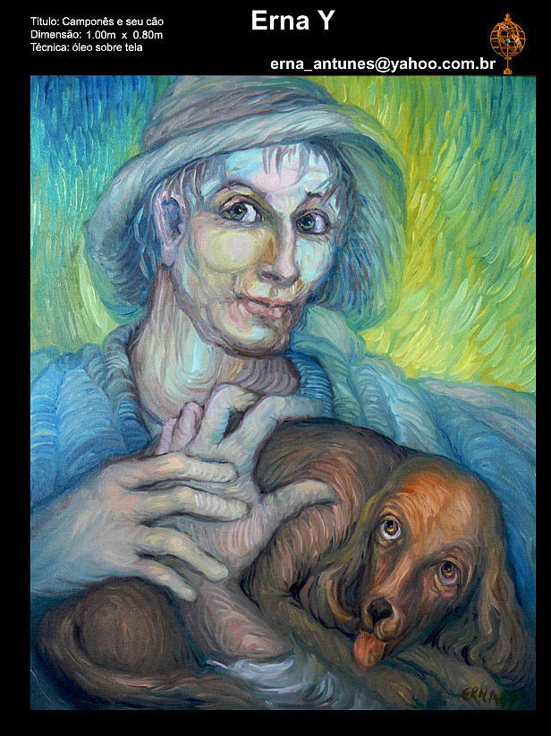 Man With Dog Painting by Erna Y