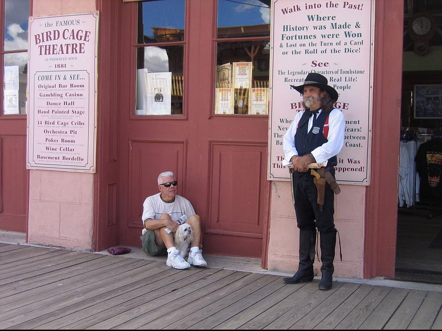 Man With His Dog Re-enactor Birdcage Theater Tombstone Arizona 2004 Photograph by David Lee Guss