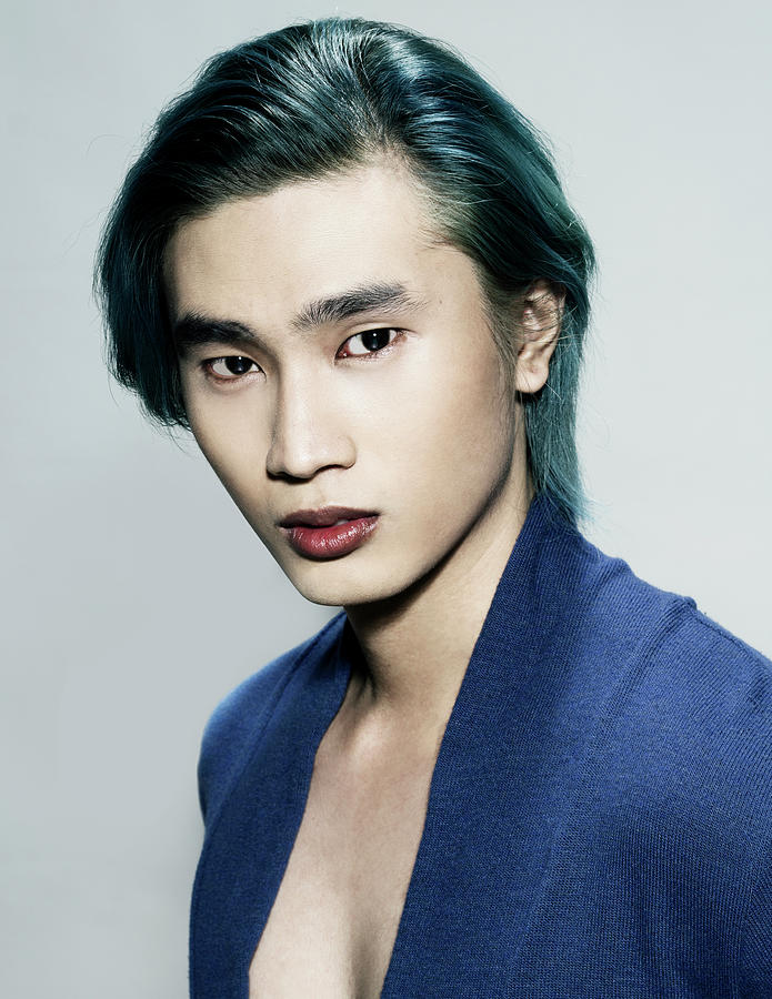 Man With Layered Side Part With Green Hair Color Photograph By Von