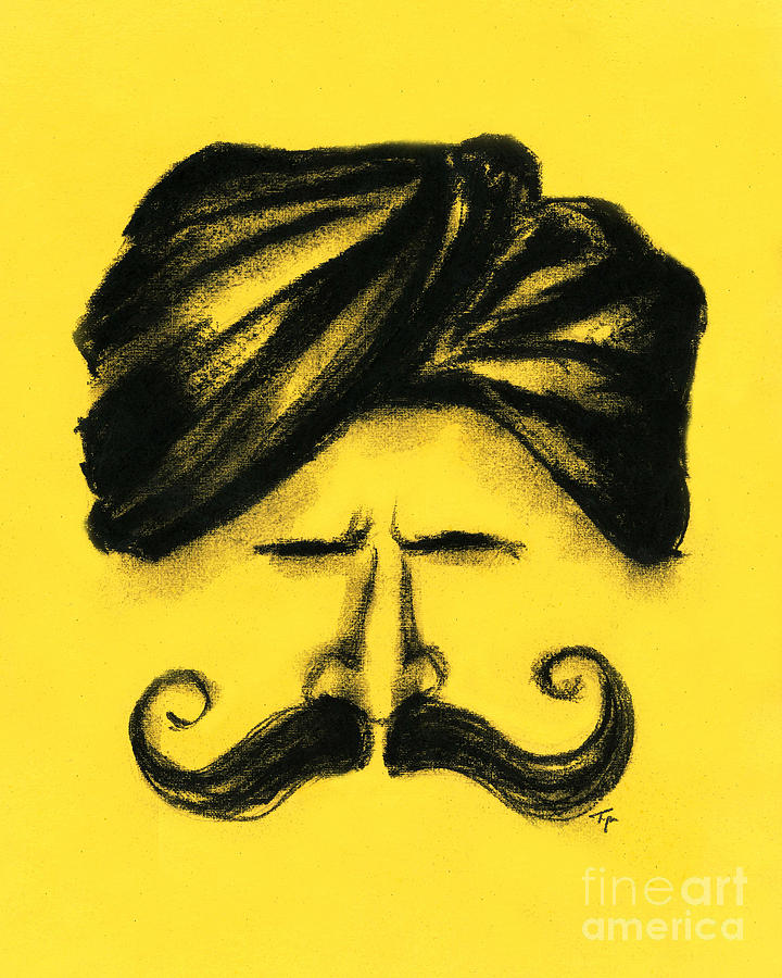 Man With Mustache - Charcoal Drawing Painting by SnazzyHues