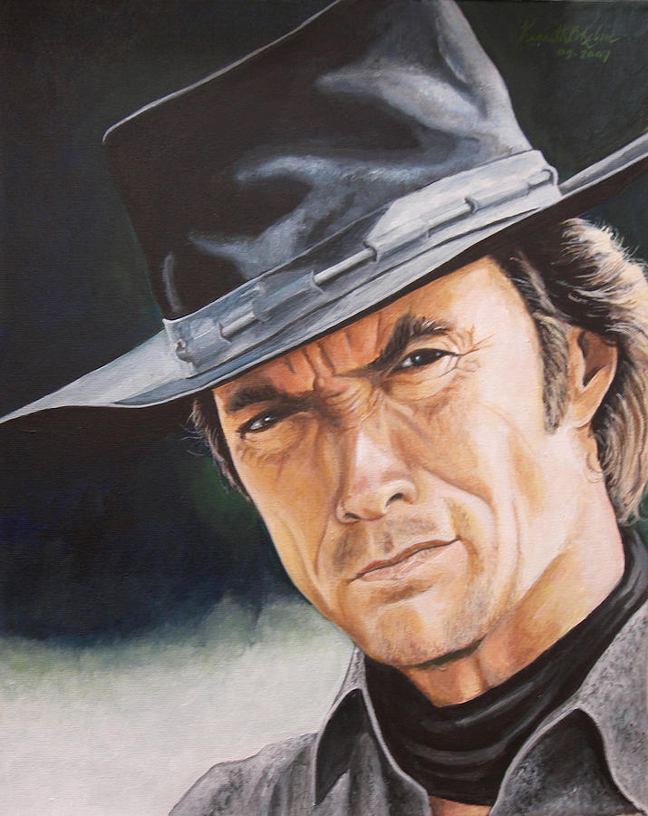 Cowboy Painting - Man With No Name by Kenneth Kelsoe