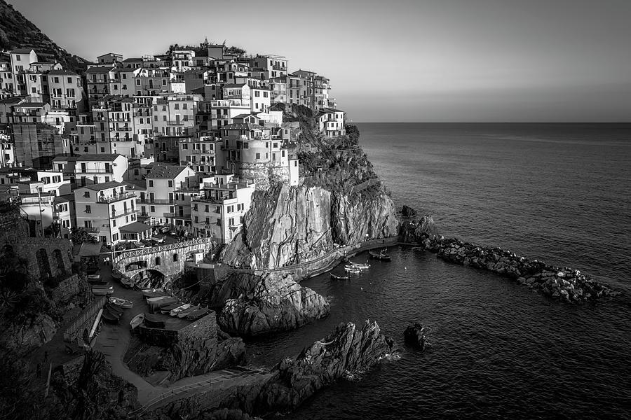 Manarola Dusk Cinque Terre Italy Bw Photograph