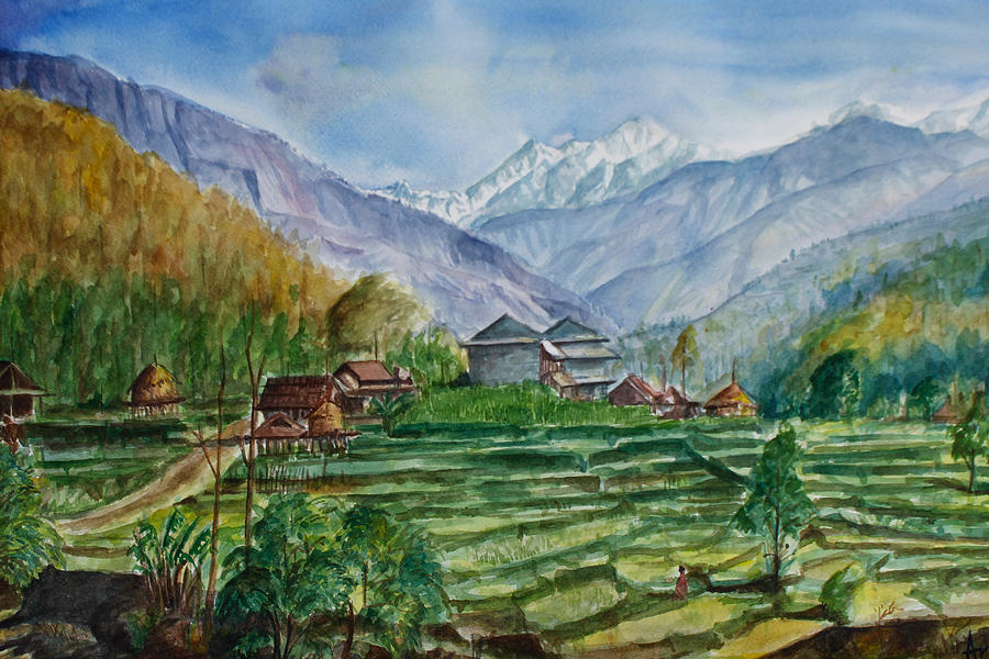 Awesome Water Color Landscape Painting - Manasalu by Arjoon KC