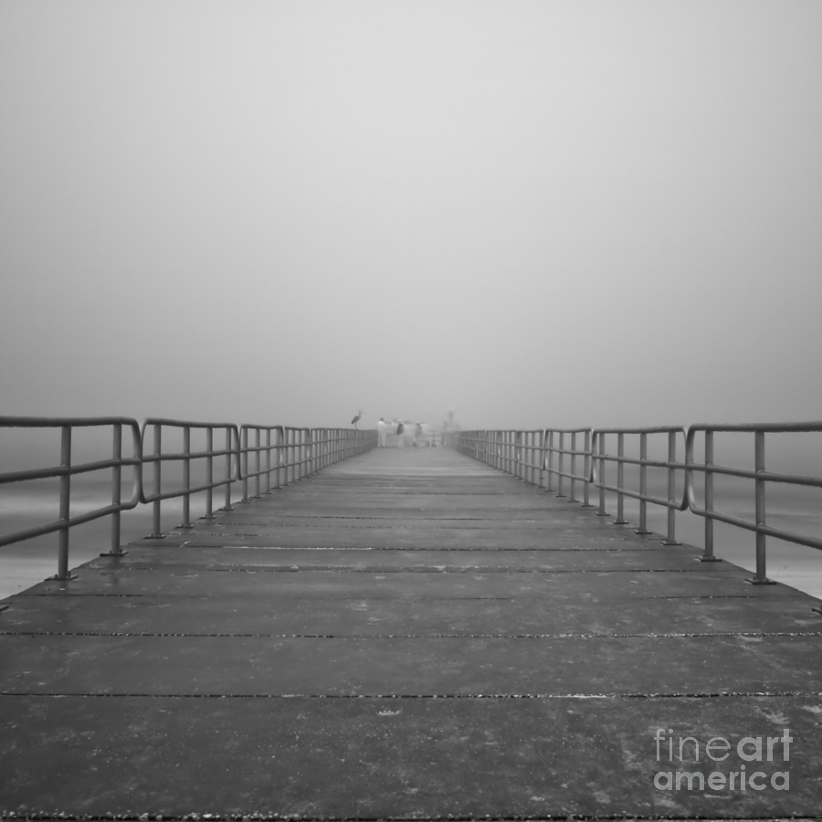 Infrared Photograph - Manatee Beach Pier In Fog Infrared 39 by Rolf Bertram
