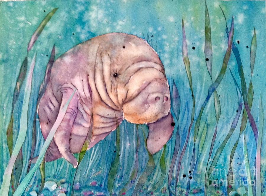 Manatee Painting - Manatee In The Sea Grass by Midge Pippel