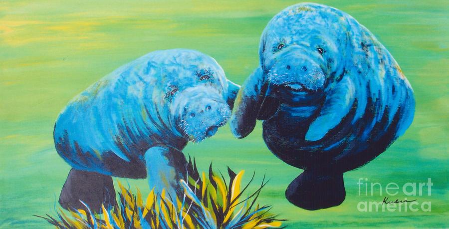 Manatee Painting - Manatee Love by Susan Kubes
