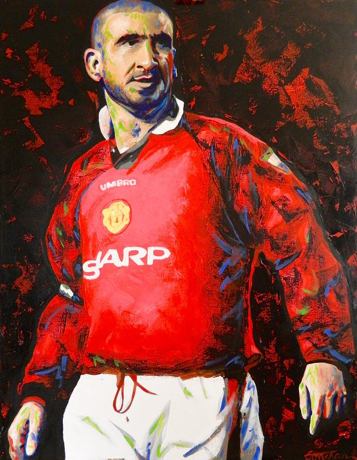 Manchester united eric cantona painting painting by scott for Eric mural painter
