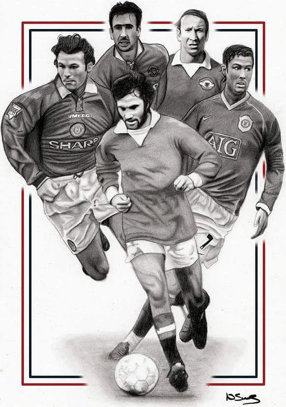 Manchester United Legends Drawing By Niall Swords