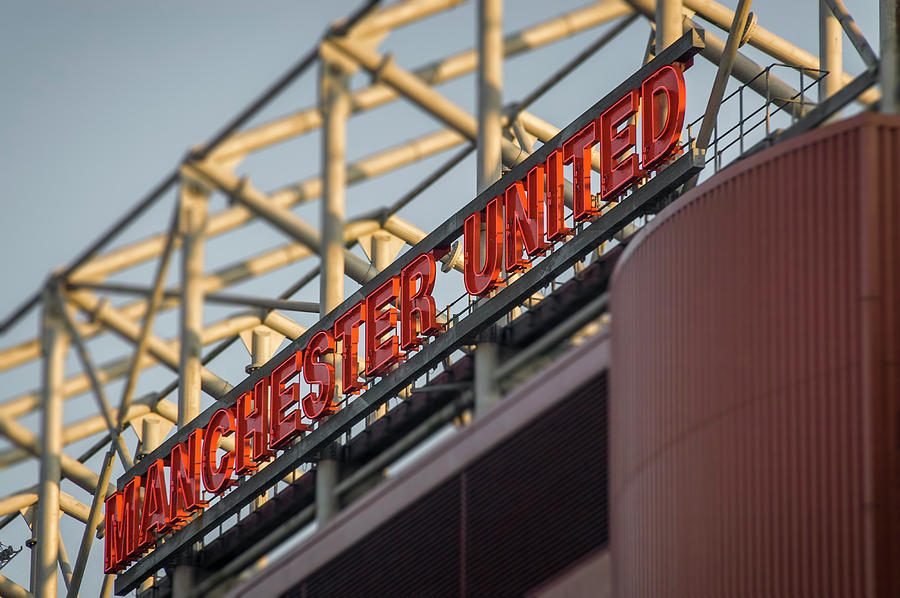 Manchester United sign, Old Trafford football ground, Manchester, UK by Neil Alexander Photography