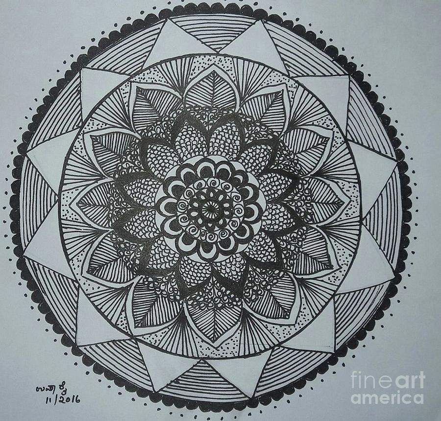 Mandal Drawing - Mandal by Usha Rai