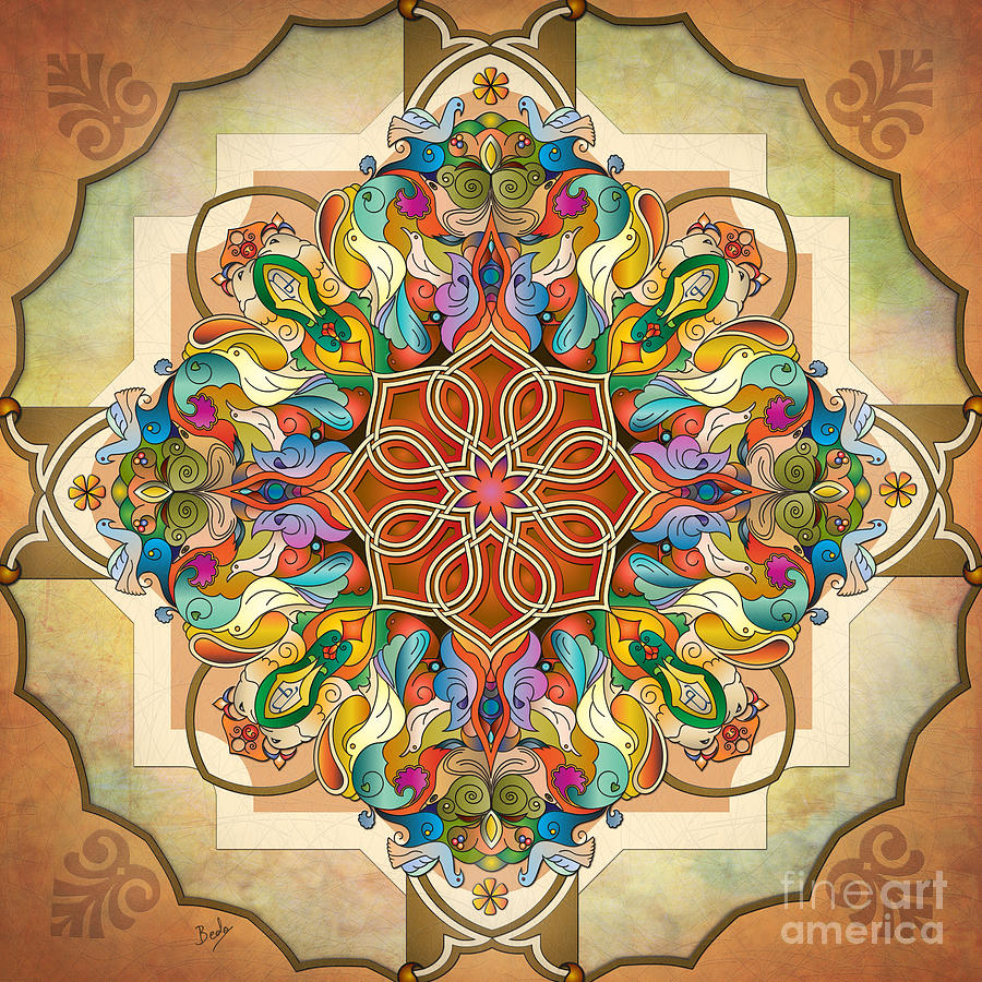 Mandala Digital Art - Mandala Birds by Bedros Awak