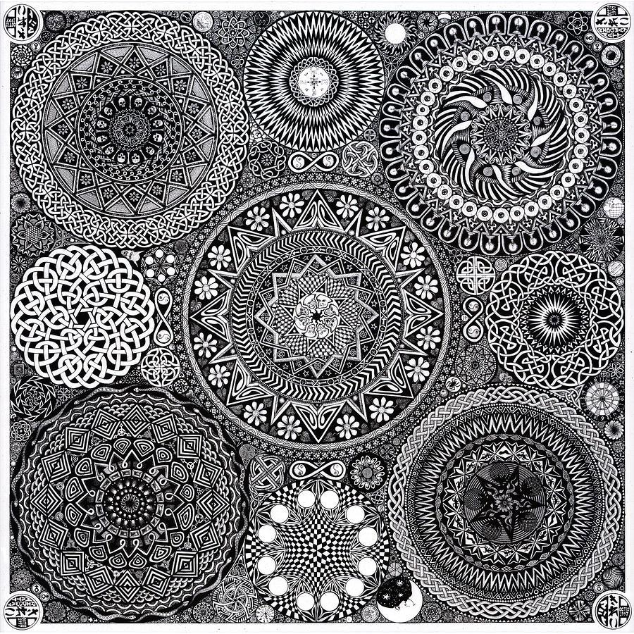 Mandala Drawing - Mandala Bouquet by Matthew Ridgway