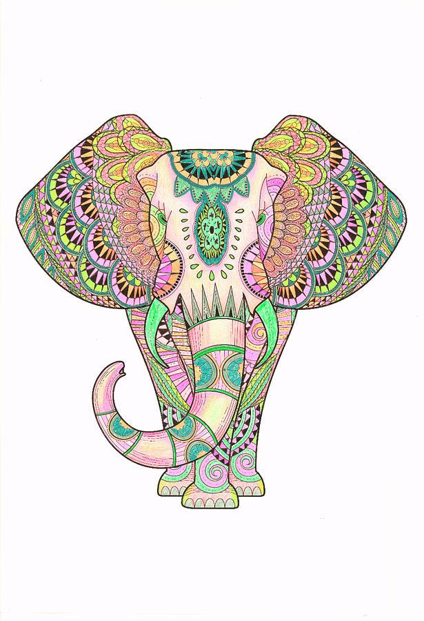 Mandala Drawing - Mandala Elephant Psicodelic by Aye