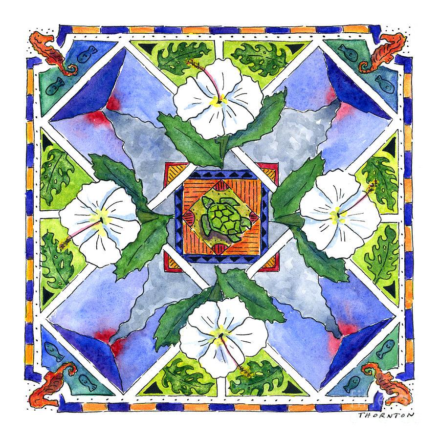Mandala Painting - Mandala IIi - White Hibiscus by Diane Thornton