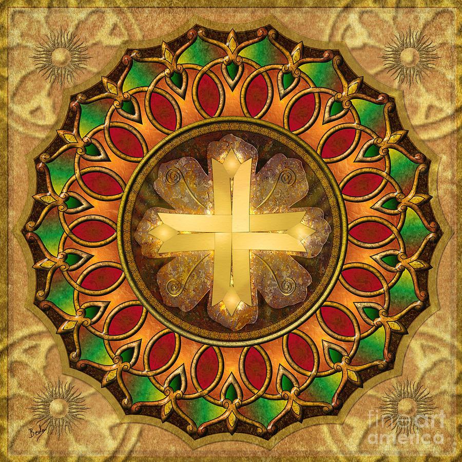Mandala Digital Art - Mandala Illuminated Cross by Bedros Awak
