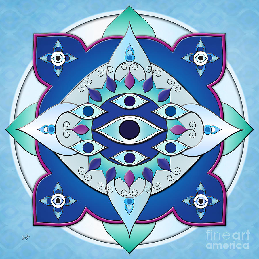 Seven Digital Art - Mandala Of The Seven Eyes by Bedros Awak