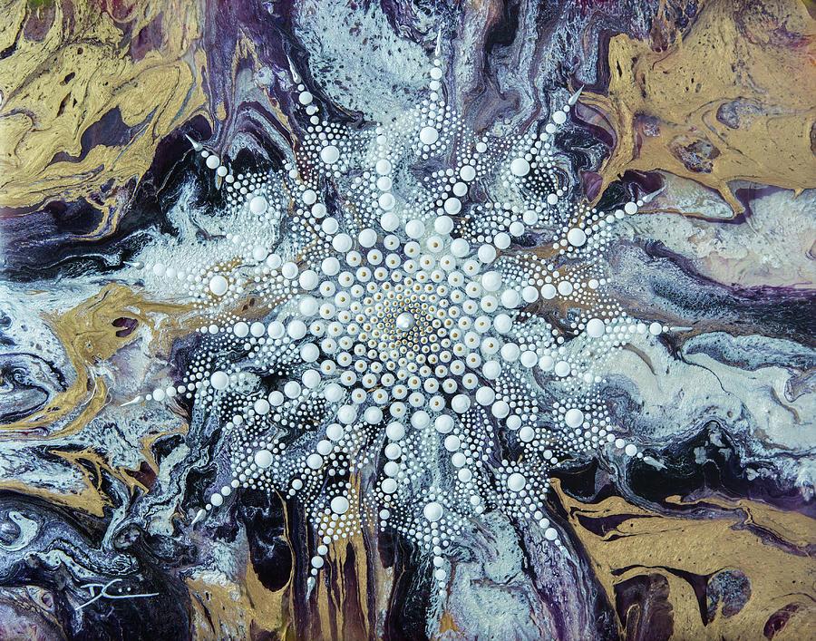 Mandala Snowflake Painting by Dee Carpenter