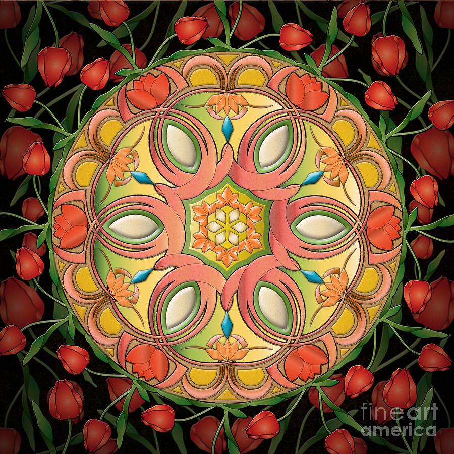 Mandala Digital Art - Mandala Tulipa by Bedros Awak