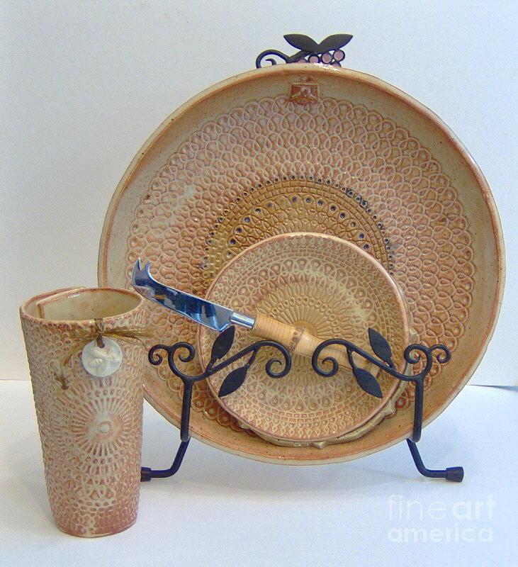 Hand Made Ceramic Art - Mandalas - Functional Stoneware  by Anastasia Verpaelst