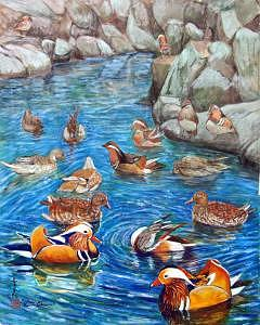 Blue Pond Painting - Mandarin Ducks by Komi Chen