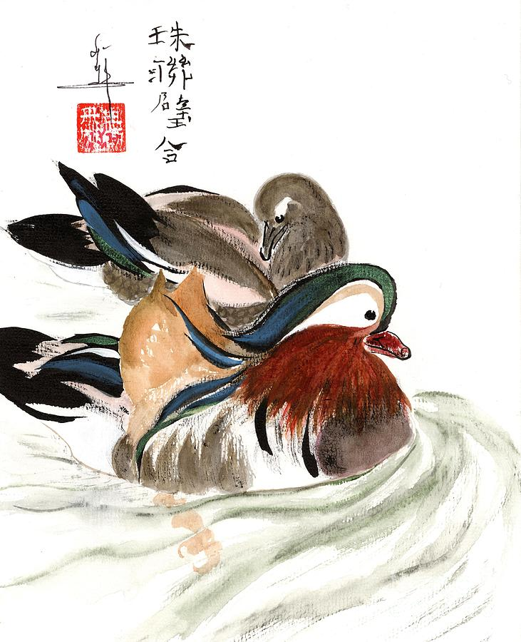 Ducks Painting - Mandarin Ducks by Linda Smith