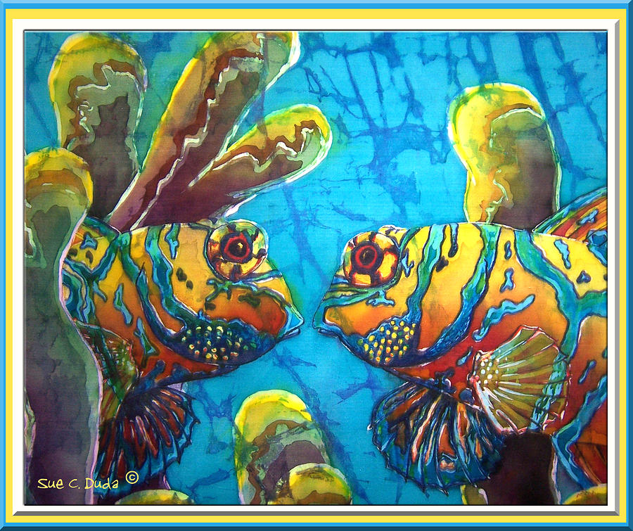 Mandarinfish Painting - Mandarinfish- Bordered by Sue Duda