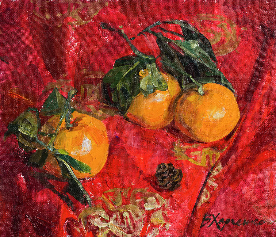 Mandarins And Strobile Painting