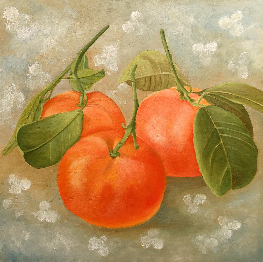 Mandarin Painting - Mandarins by Angeles M Pomata