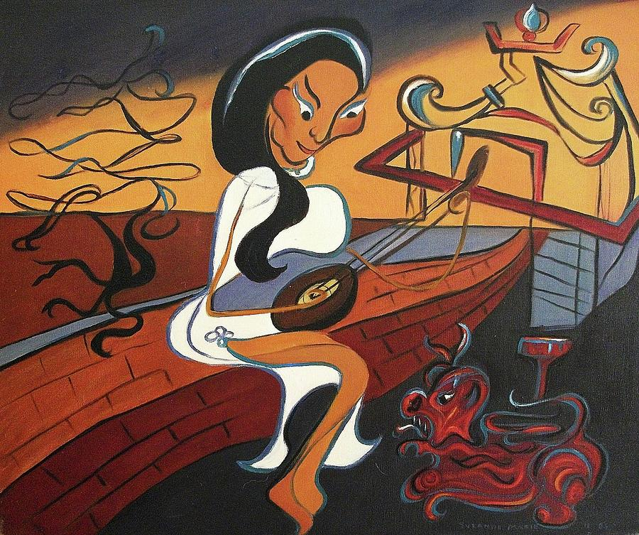 Vietnamese Painting - Mandolin Lady by Suzanne  Marie Leclair