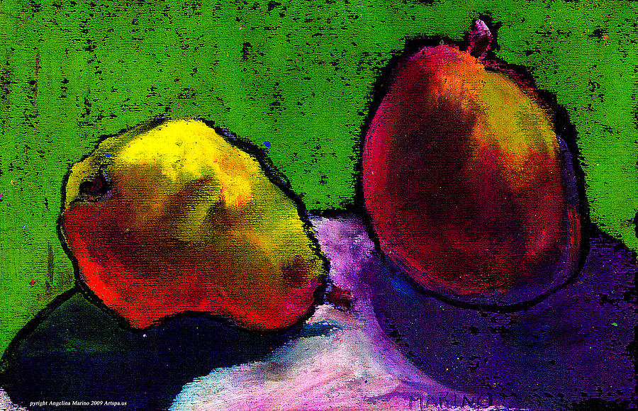 Landscape Painting - Mango And Pear by Angelina Marino
