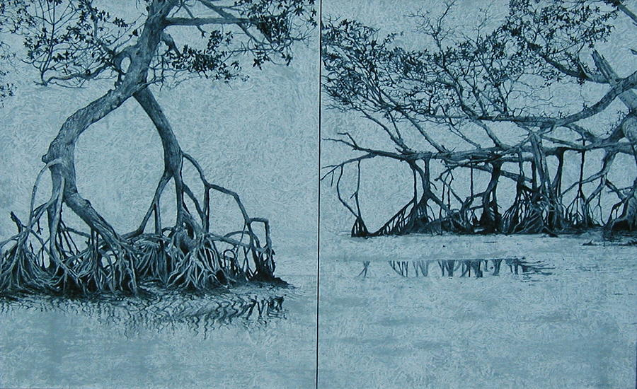 Blue Painting - Mangroves by Leah  Tomaino