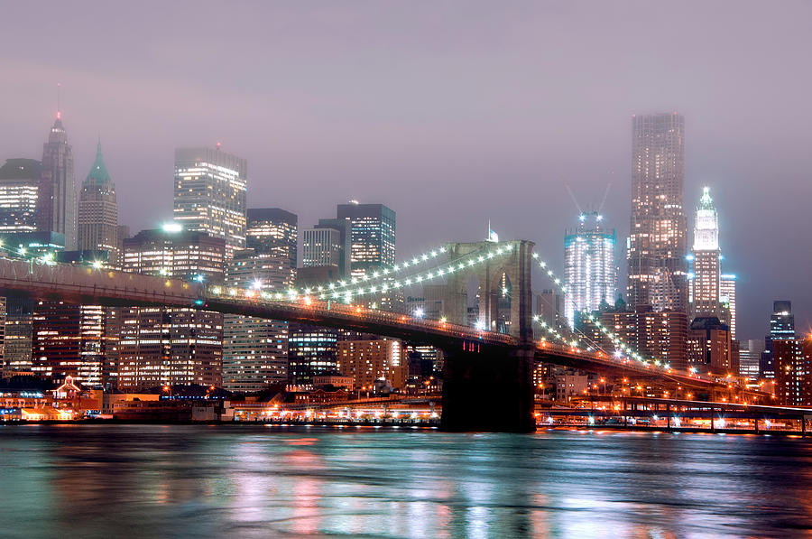 Horizontal Photograph - Manhattan And Brooklyn Bridge Under Fog. by Shobeir Ansari
