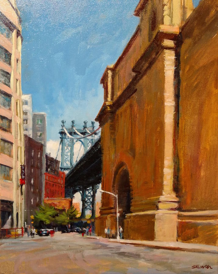 New York Painting - Manhattan Bridge From  Front Street, Brooklyn by Peter Salwen
