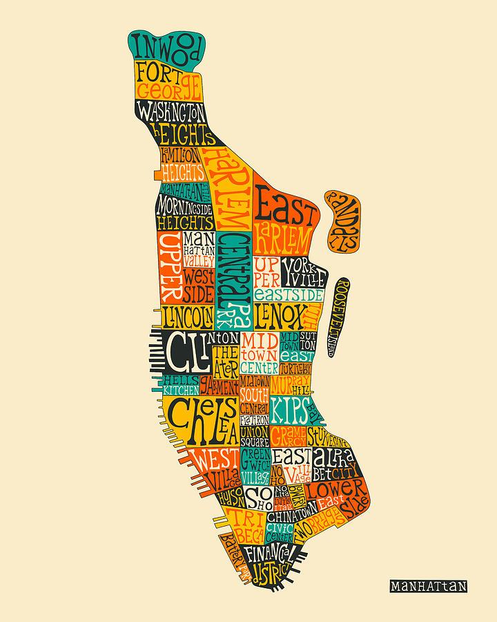 Manhattan Neighborhood Map Typography Digital Art by Jazzberry Blue