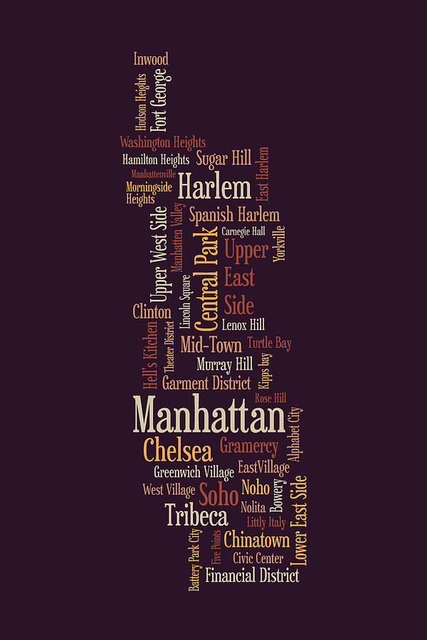 Manhattan Map Digital Art - Manhattan New York Typographic Map by Michael Tompsett