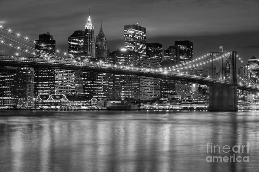 America Photograph - Manhattan Night Skyline Iv by Clarence Holmes