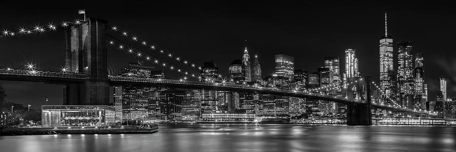 MANHATTAN SKYLINE AND BROOKLYN BRIDGE Nightly Impressions - Panoramic by Melanie Viola