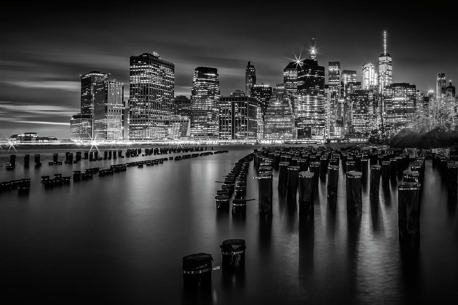 Manhattan Skyline at Sunset - Monochrome by Melanie Viola