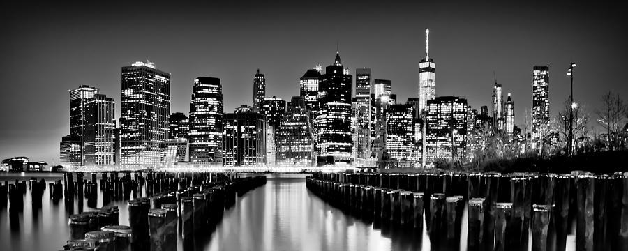 Manhattan Skyline Bw Photograph