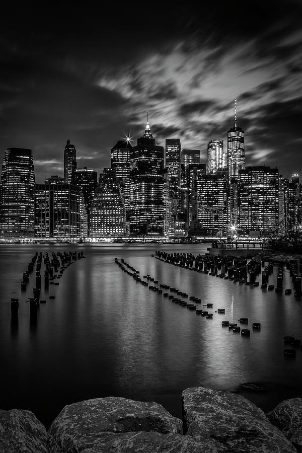 New York Photograph - Manhattan Skyline Evening Atmosphere In New York City - Monochrome by Melanie Viola