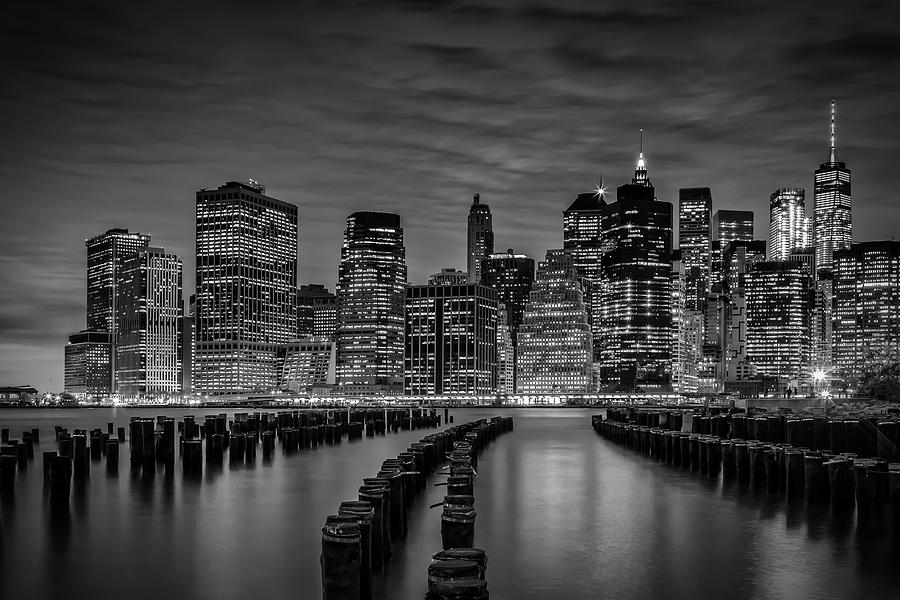 New York Photograph - Manhattan Skyline Evening Atmosphere - Monochrome by Melanie Viola