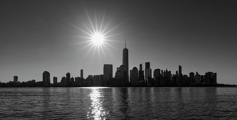Manhattan Skyline In Black And White Photograph