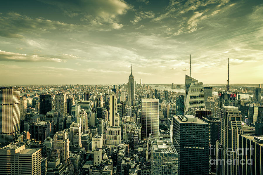 Manhattan Skyline- sepia by Franz Zarda