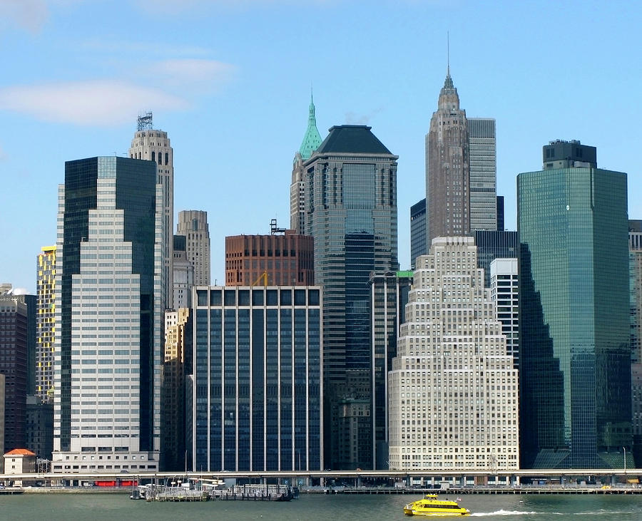 Manhattan Photograph - Manhattan Skyline With Yellow Boat by Frank Winters
