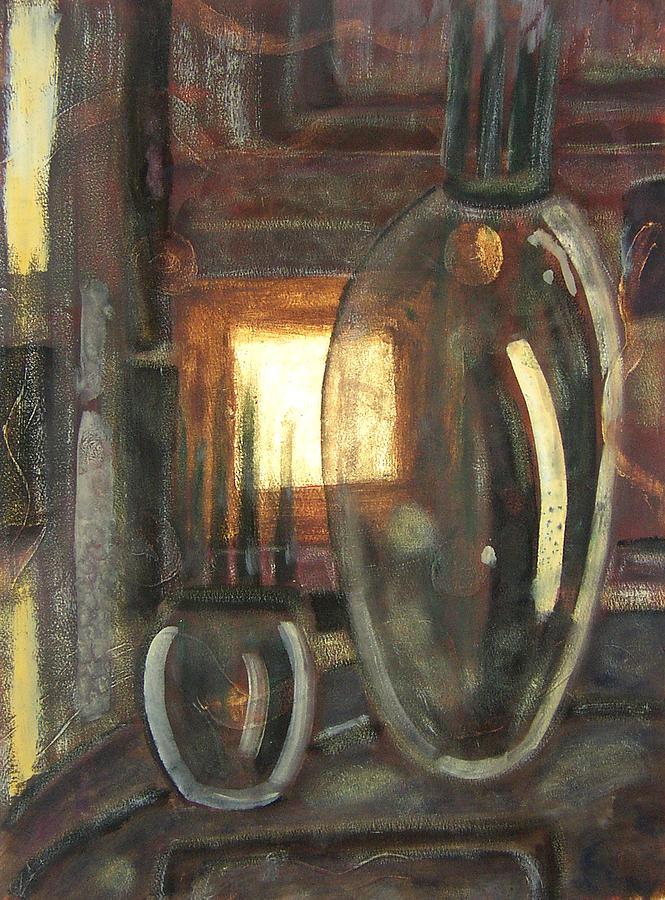 Abstract Painting - Manhattan-table by Lorraine Platt