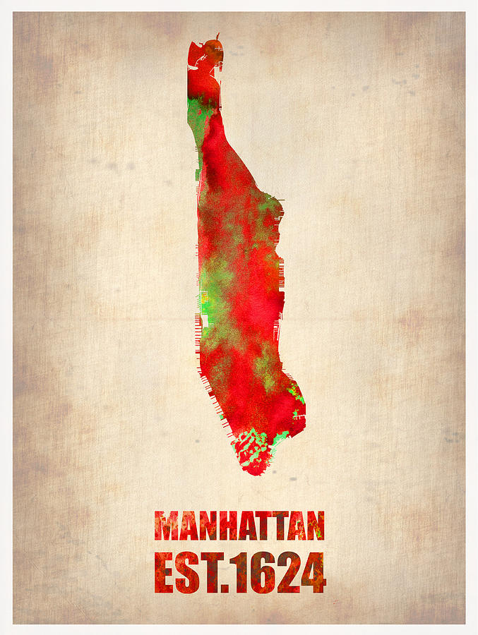 Manhattan Painting - Manhattan Watercolor Map by Naxart Studio