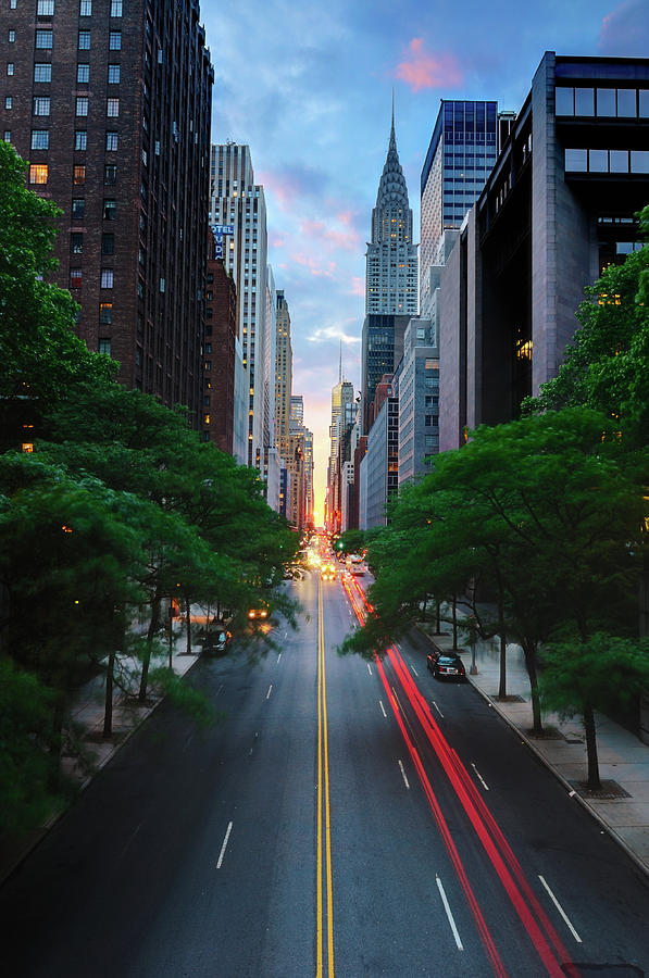 Vertical Photograph - Manhattanhenge From 42nd Street, New York City by Andrew C Mace