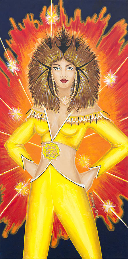 Manipura Painting - Manipura Solar Plexus Chakra Goddess by Divinity MonSun Chan