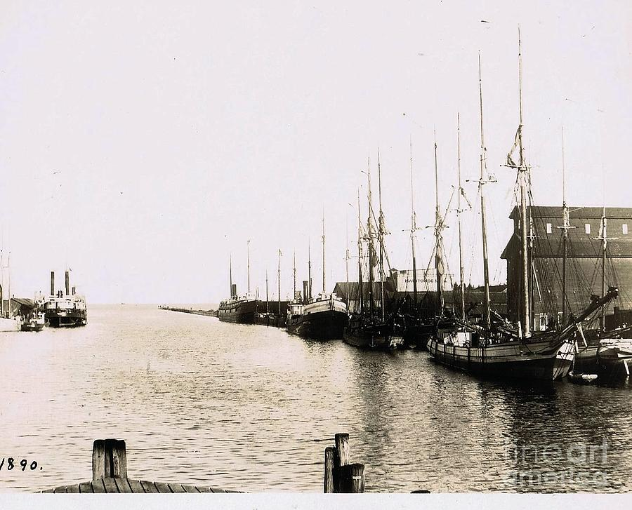 Manitowoc Photograph - Manitowoc Harbor 1889 Or 1890 by Tom Geiger